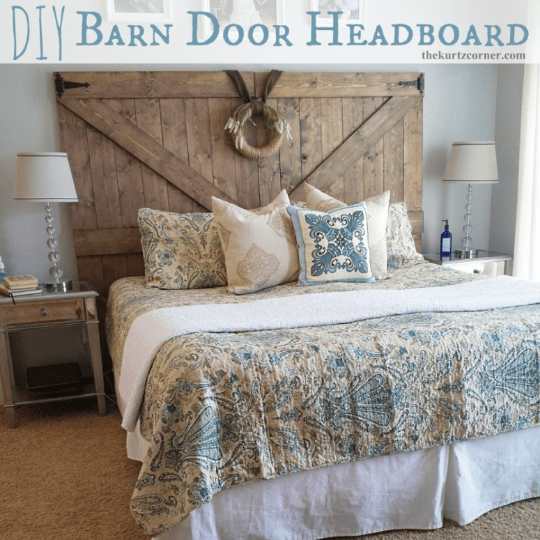 DIY barn door headboard (via www.thekurtzcorner.com)