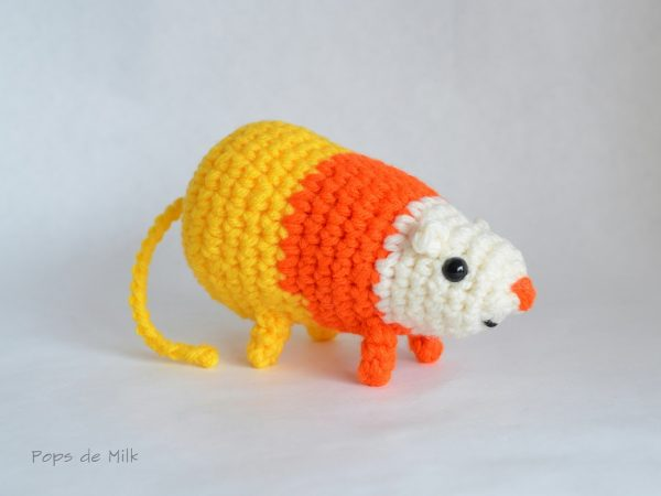 DIY crocheted candy corn rat