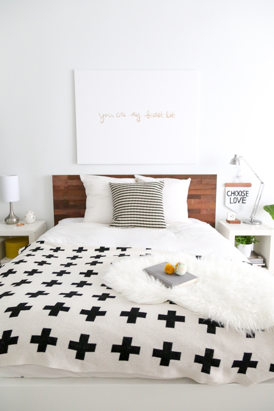 DIY IKEA headboard hack with Stikwood (via sugarandcloth.com)