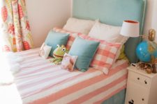 DIY headboard hack with Sanela curtains and nail heads