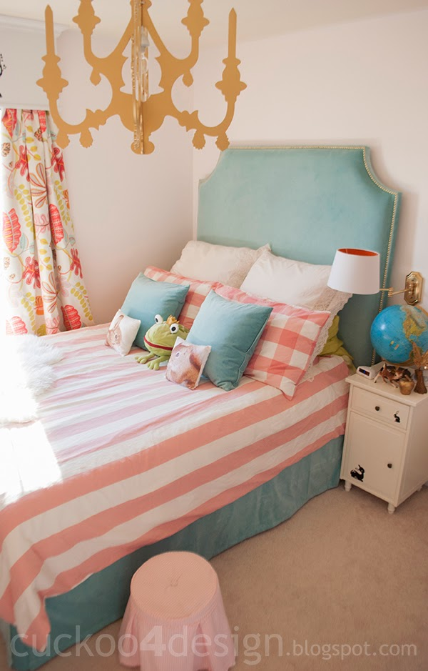 DIY headboard hack with Sanela curtains and nail heads (via www.cuckoo4design.com)