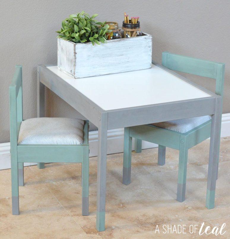 DIY IKEA Latt shabby chic makeover in pastel shades (via ashadeofteal.com)