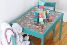DIY bold floral Latt makeover with green paint