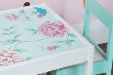 DIY green paint and floral wallpaper hack for IKEA Latt