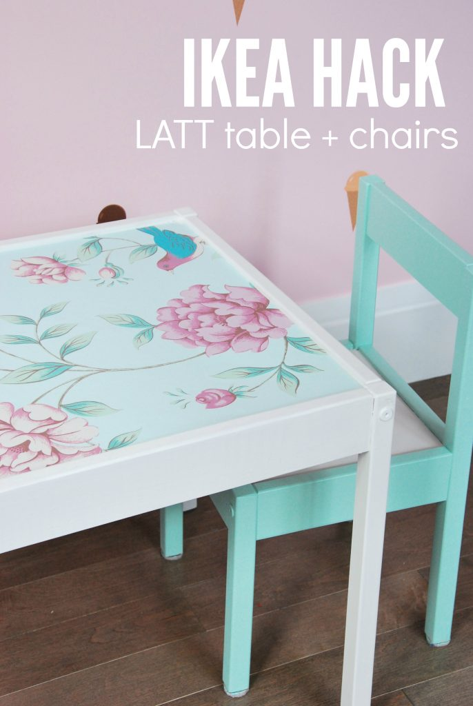 DIY green paint and floral wallpaper hack for IKEA Latt (via thesweetestdigs.com)