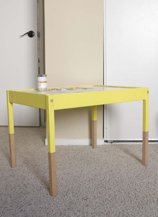 DIY bold yellow dipped IKEA Latt furniture (via swoonstudio.blogspot.ru)