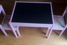 DIY IKEA Latt table into a chalkboard one and floral chairs