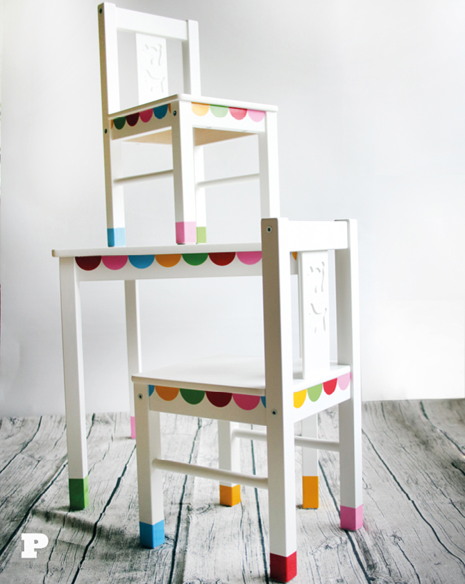 DIY IKEA Latt set makeover with stickers (via pysselbolaget.se)