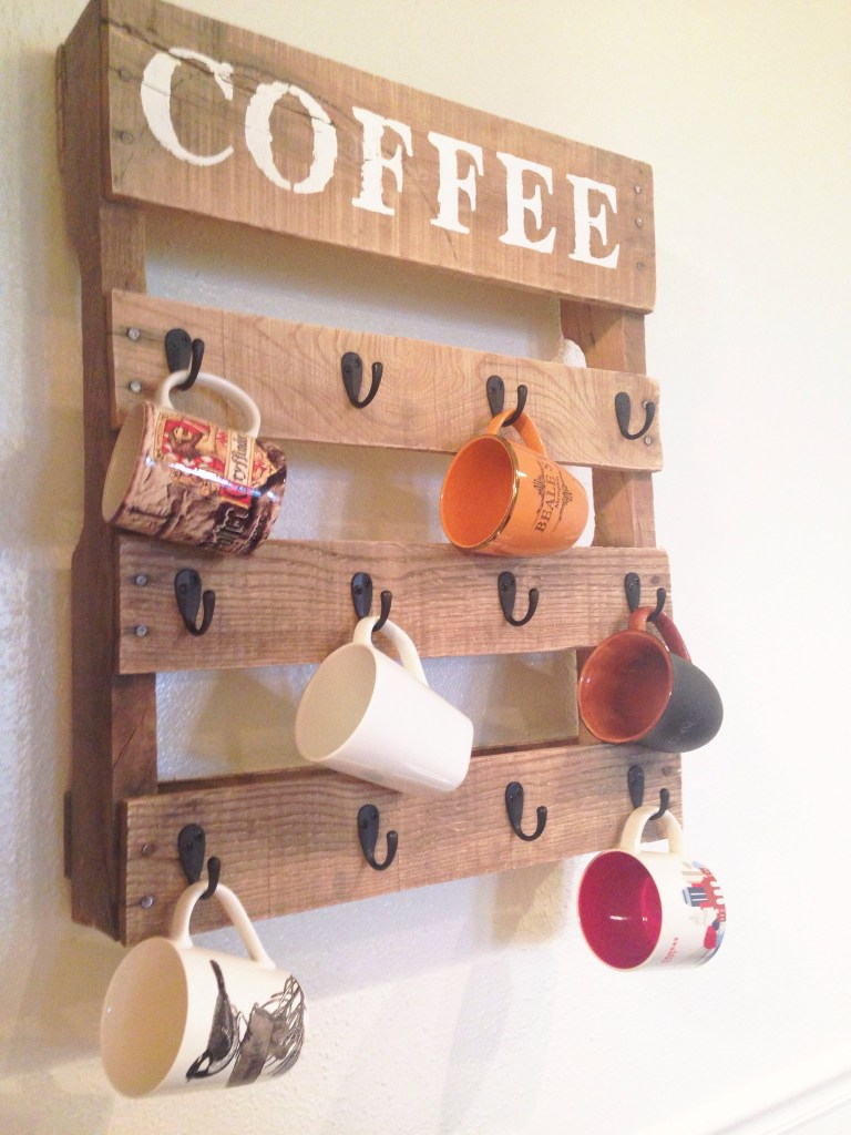 DIY pallet mug rack (via www.onelittlebirdblog.com)