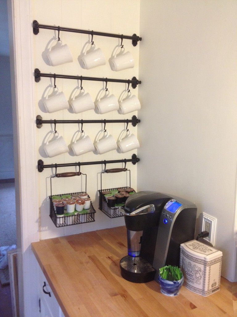DIY wall mug shelving