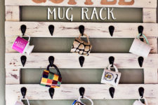 DIY shabby chic coffee mug rack