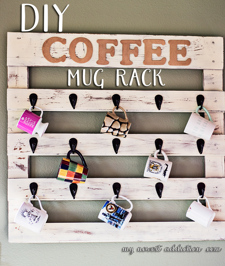 DIY shabby chic coffee mug rack