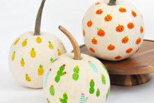 DIY fingerprint Halloween pumpkins