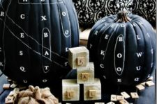 DIY chalkboard word finding pumpkin