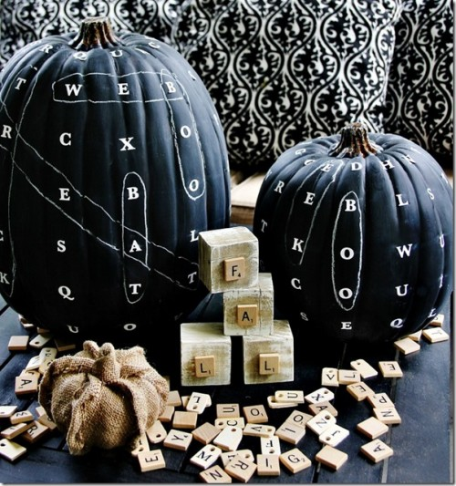 DIY chalkboard word finding pumpkin