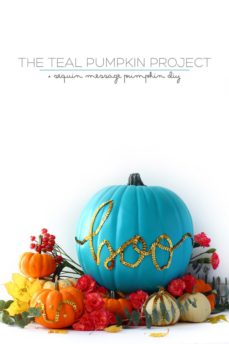 DIY teal pumpkin with sequins (via squirrellyminds.com)