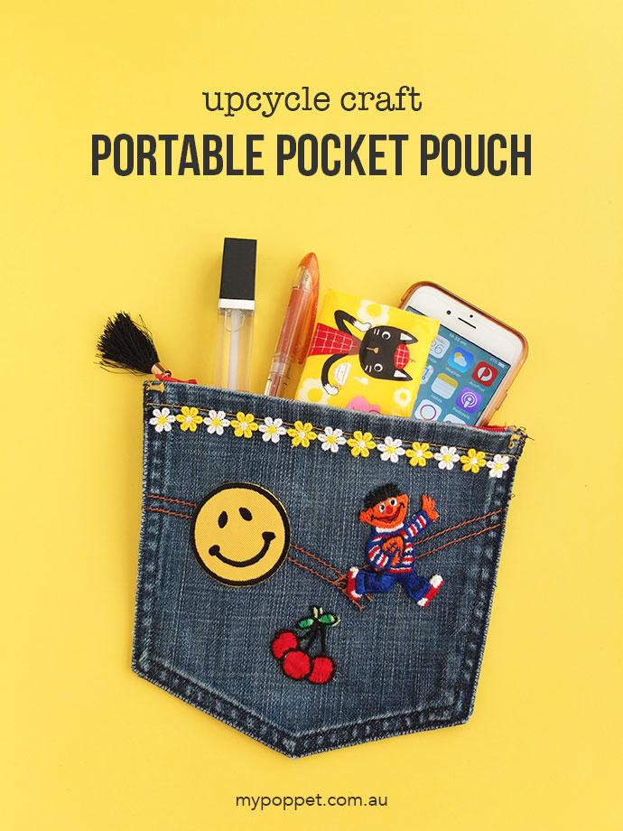DIY portable pocket pouch of denim pockets