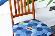 DIY denim patchwork chair
