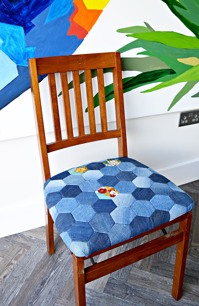 DIY denim patchwork chair