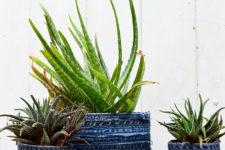 DIY denim wrapped planters