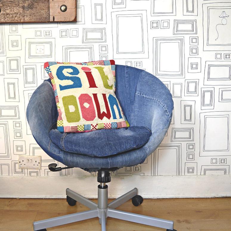 DIY IKEA chair denim upcycle (via www.pillarboxblue.com)