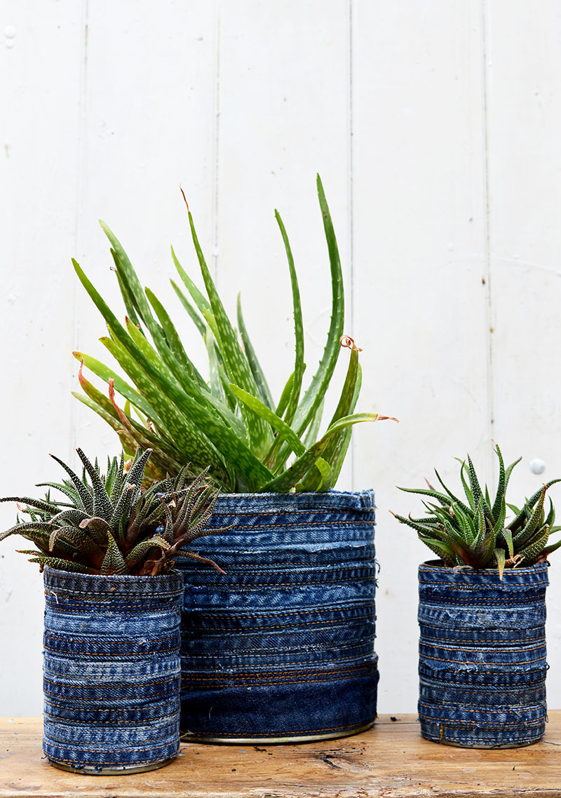 DIY denim wrapped planters