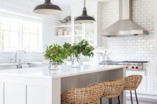 03 a breakfast zone on one side of the kitchen island and wicker stools for a cozy feel