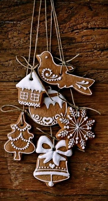 iced gingerbread cookies gathered into a hanging