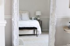 05 a white ornate floor mirror for an airy bedroom can be used to dress up here