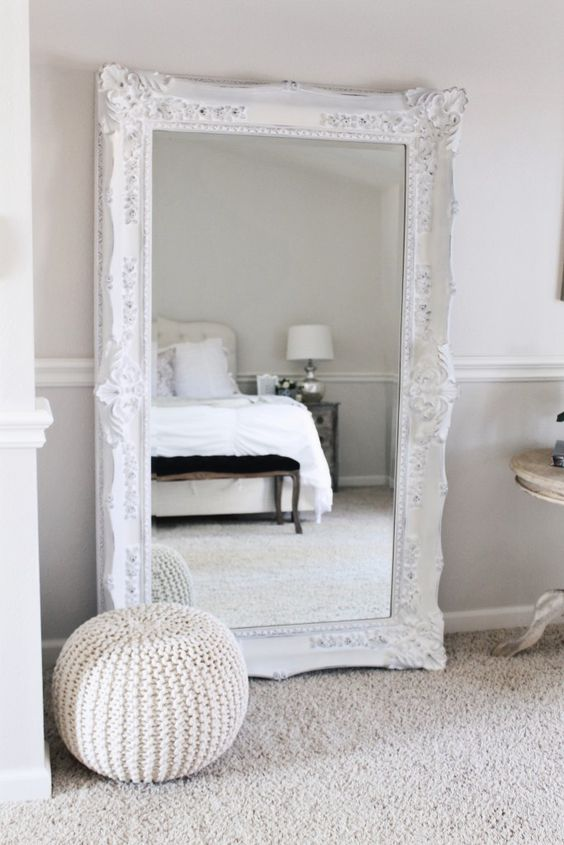 A White Ornate Floor Mirror For An Airy Bedroom Can Be Used To Dress Up Here