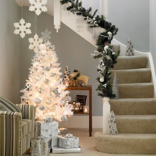 shiny silver and champagne ornaments are a great idea to highlight the tree look