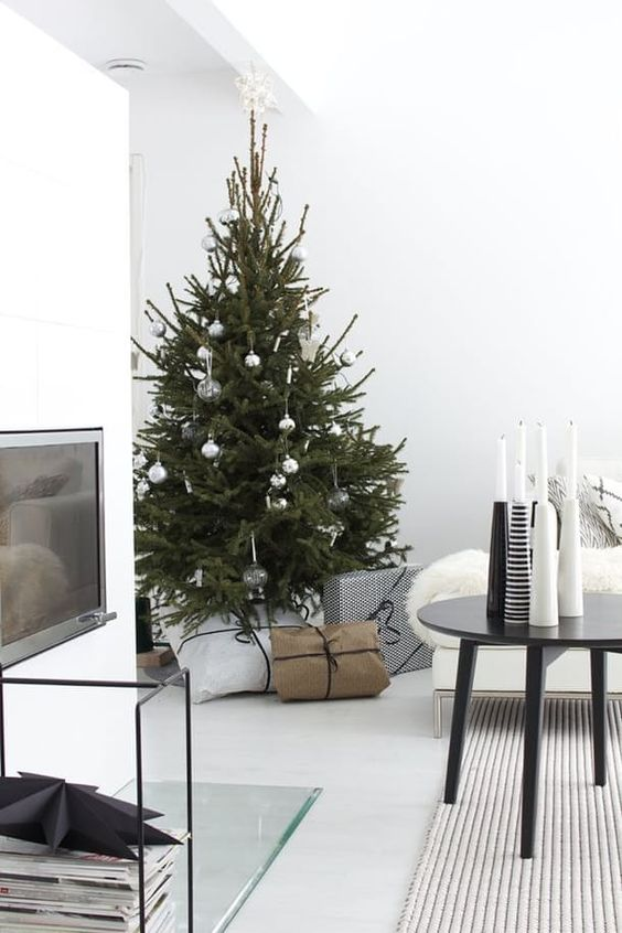 a minimalist tree with silver and sheer ornaments for a minimal look