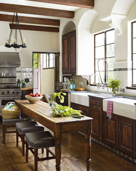 A Rustic Vintage Kitchen Island Serves Both As A Dining Zone And A Cooking  One