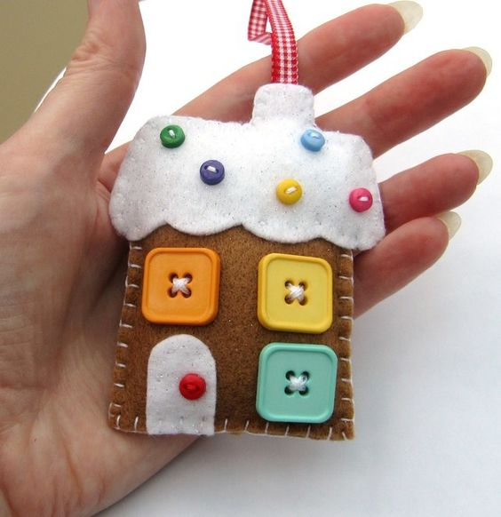 a fun felt gingerbread ornaments with colorful buttons can be a nice decoration