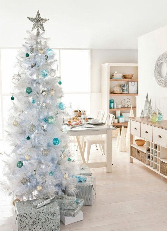 a white tree with blue and silver ornaments for a pretty frosted look