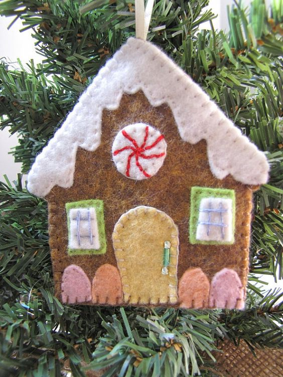 a gingerbread-inspired house ornament can be made of felt