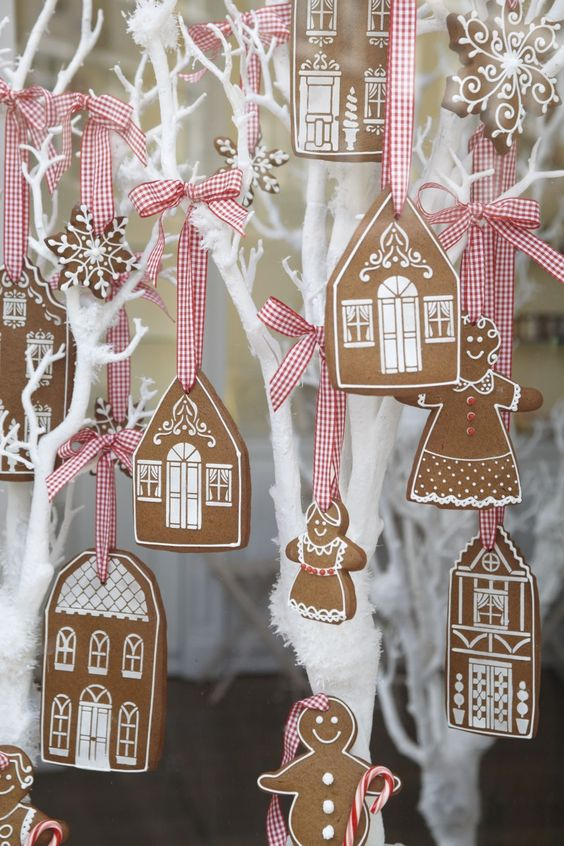 gingerbread cookies on plaid ribbons are one of the cutest things for Christmas