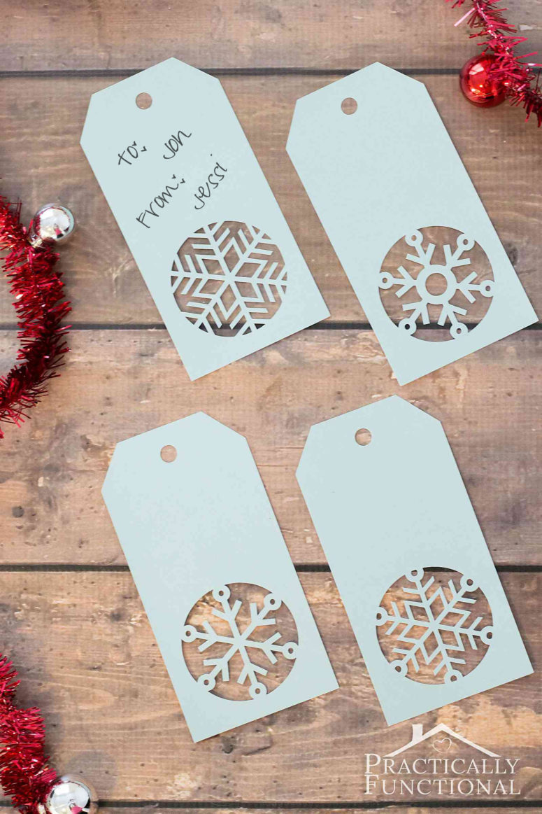 DIY snowflake Christmas gift tag  (via www.practicallyfunctional.com)