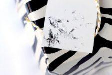 DIY marble gift tag with nail polish