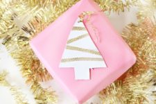 DIY leather gold leaf gift tags