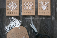 DIY cross-stitched Christmas gift tags