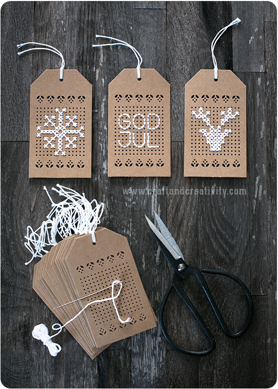 DIY cross stitched Christmas gift tags