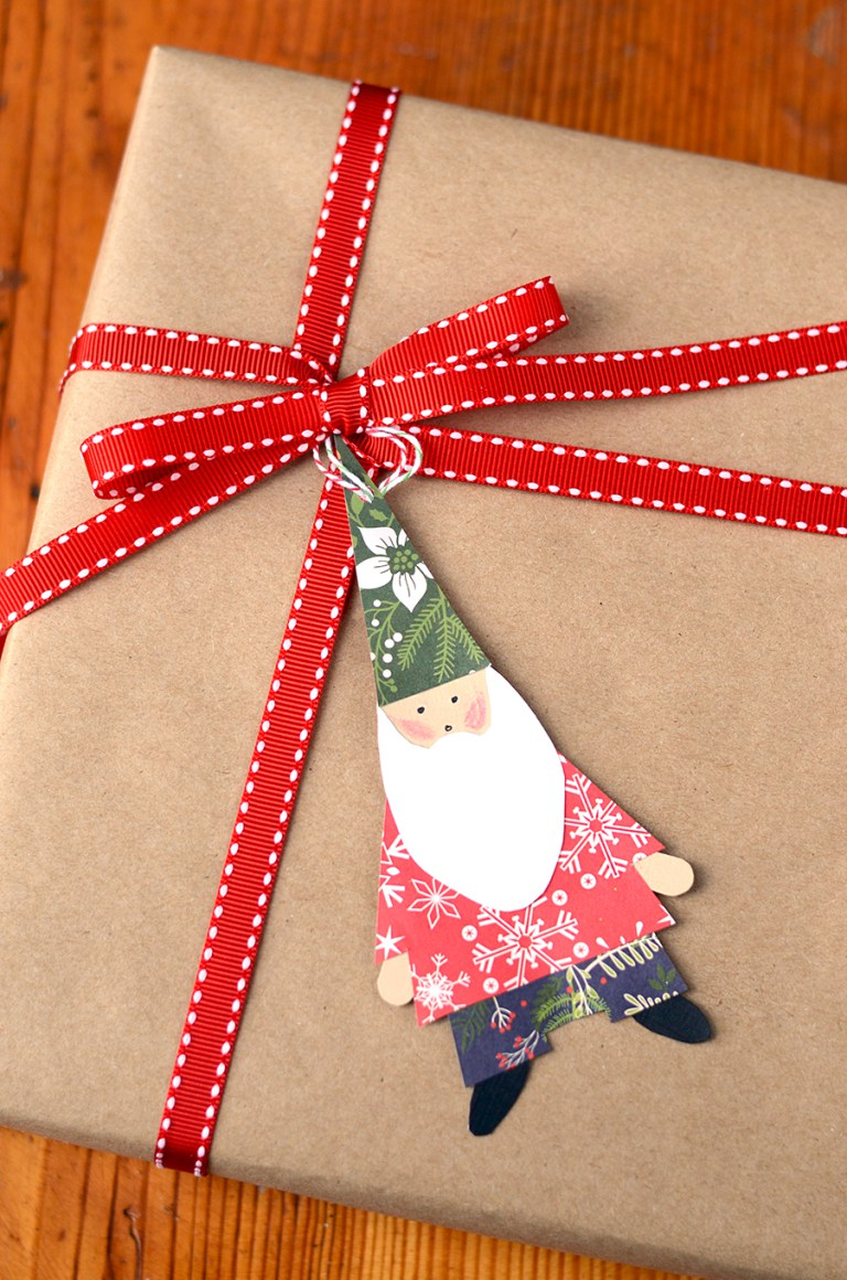 DIY Christmas gnome gift tag (via vintagekitty.com)