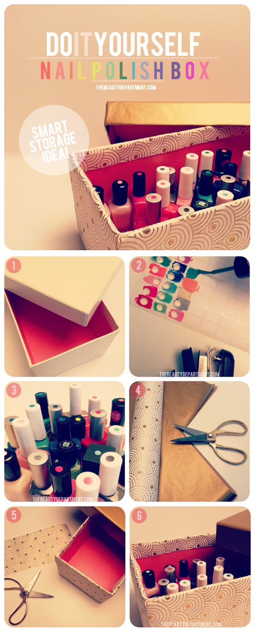 DIY nail polish storage box (via thebeautydepartment.com)