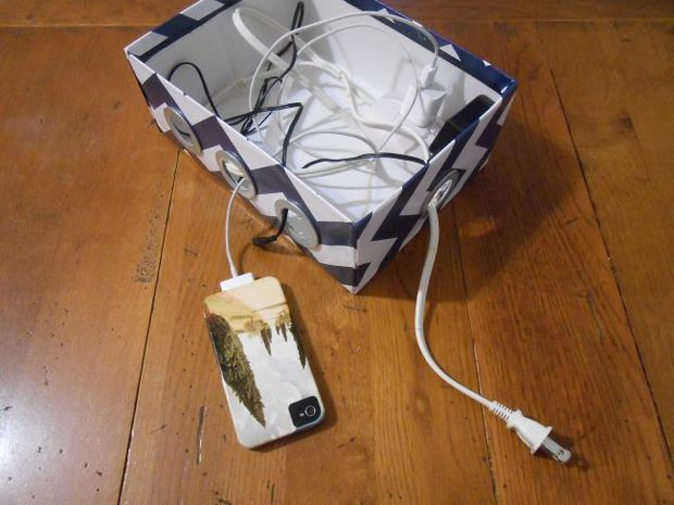 DIY shoebox charging station (via www.instructables.com)