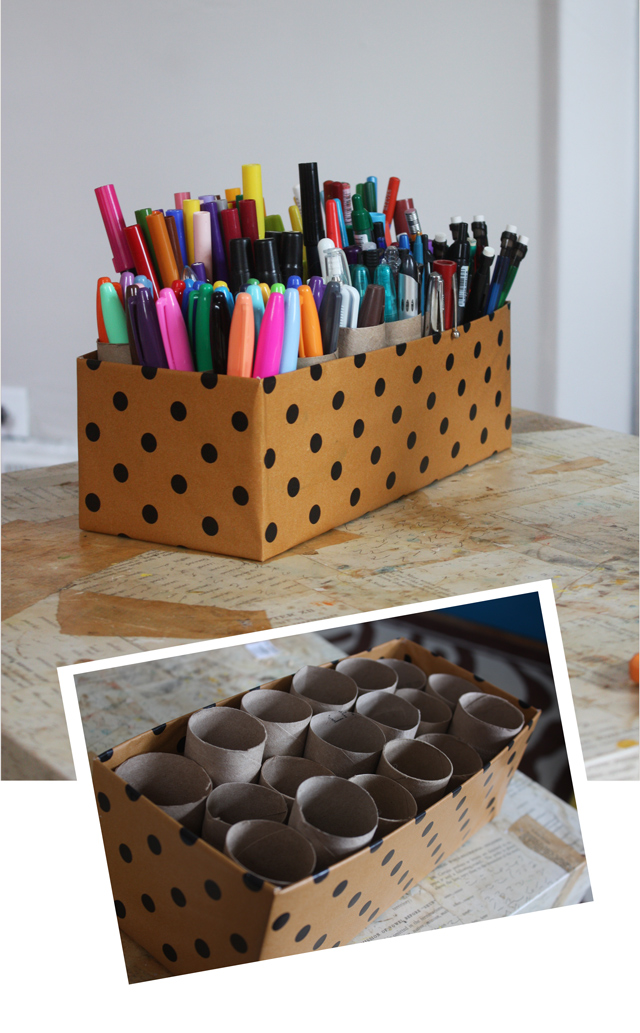 DIY shoebox marker holder (via www.auntpeaches.com)