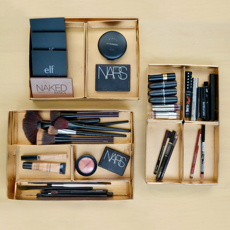 DIY luxe makeup storage trays
