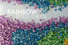 DIY rainbow oats sensory bin
