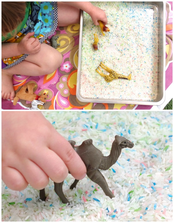 DIY colored rice sensory tray (via mypoppet.com.au)
