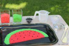 DIY watermelon slice sensory play
